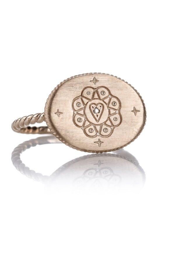 Anello Mandala Oro con Diamanti Grey - Via Fratelli Lombardi 1