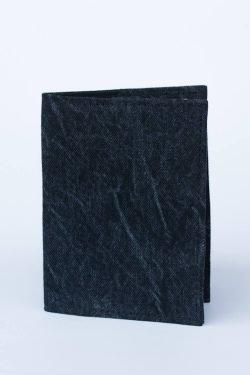 Porta Passaporto Saturno In Denim Nero Effetto Crinkle