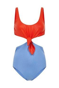 Costume Intero Knotting Bay Bicolor Corallo & Azzurro