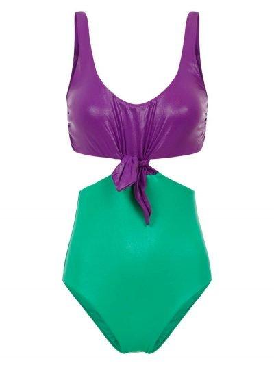 Costume Intero Knotting Bay Bicolor Verde & Viola