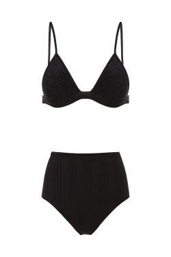 Bikini Stripes&Shine High Waisted Onyx