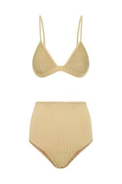 Bikini Stripes&Shine High Waisted Oyster