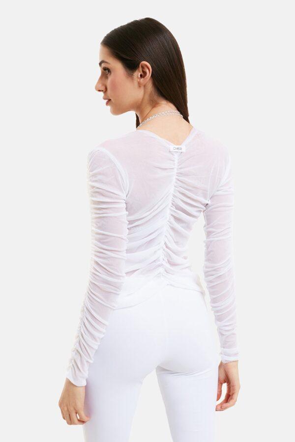 Top Diamond Tulle Bianco