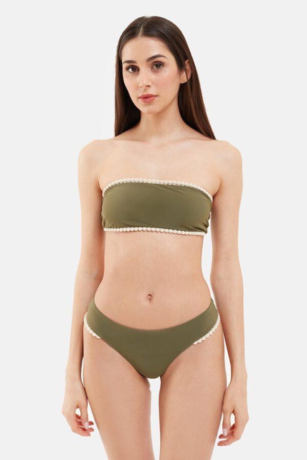 Costume Edie Bikini Fascia Verde Pompon Beige