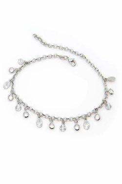 Cavigliera Timeless Con Medagliette Diamantate e Cristallini