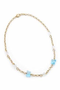 Collana Timeless con farfalle azzurre in cristallo Swarovski