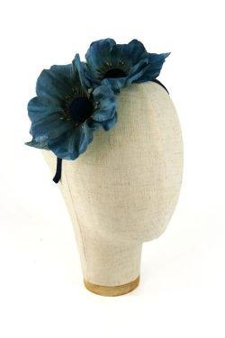 Cerchietto con fiori di seta Blu Pavone