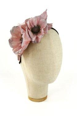 Cerchietto con fiori di seta Rosa e Nero
