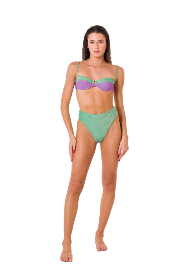 Bikini Balconette '80 Lurex Lilac Green