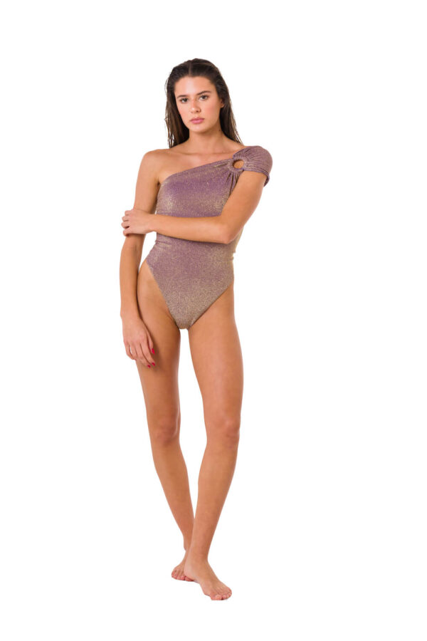 Costume Intero One Shoulder Lurex Mauve